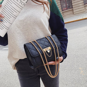 Women's Buttons / Chain PU Crossbody Bag Lattice Black / Gold / Fall & Winter