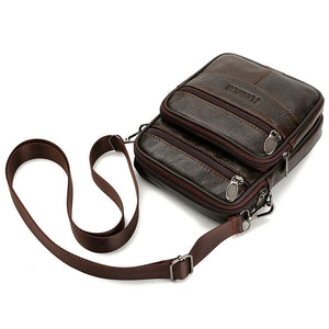 Unisex Zipper Cowhide Crossbody Bag Solid Color Coffee