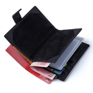 Men's Cowhide Wallet Solid Color Black