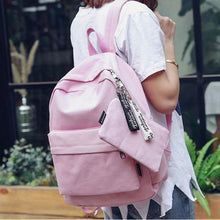 Load image into Gallery viewer, Canvas Zipper School Bag Daily Black / Blushing Pink / Light Grey