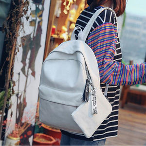 Canvas Zipper School Bag Daily Black / Blushing Pink / Light Grey
