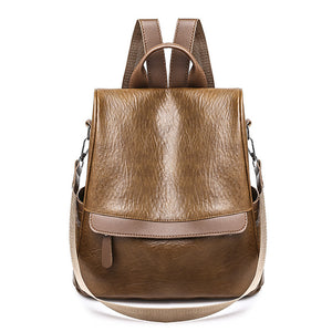 PU Leather Feathers / Fur / Zipper Commuter Backpack Solid Color Daily Brown / Black / Girls'