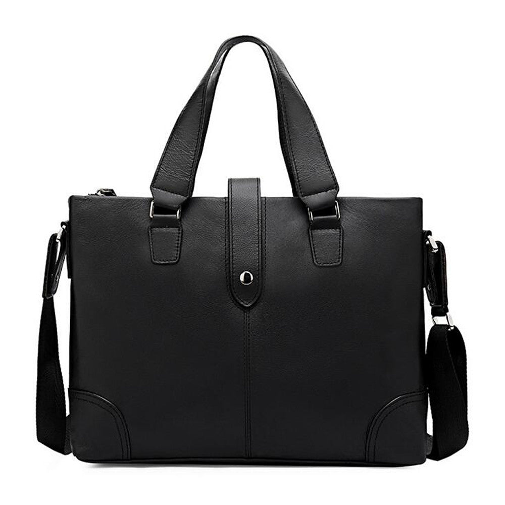 Men's Zipper Cowhide Briefcase Black