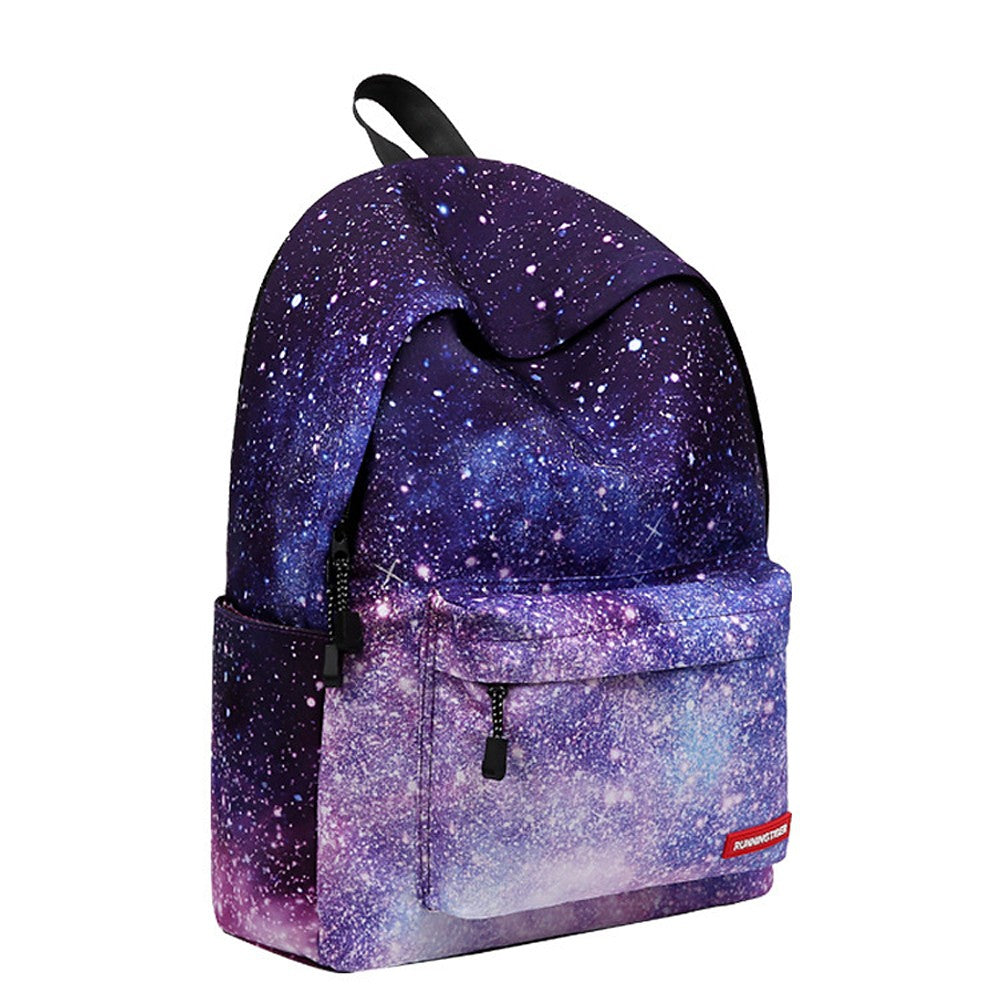 Unisex Zipper School Bag Backpack Polyester Geometric Light Purple