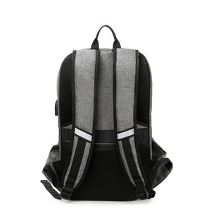 Oxford Zipper School Bag Traveling Black / Gray / Men's