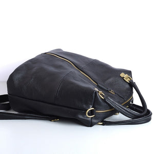 Cowhide Commuter Backpack Outdoor Black