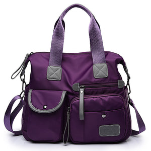 Women's Zipper Tote Nylon Black / Red / Purple