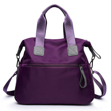 Load image into Gallery viewer, Women's Zipper Tote Nylon Black / Red / Purple