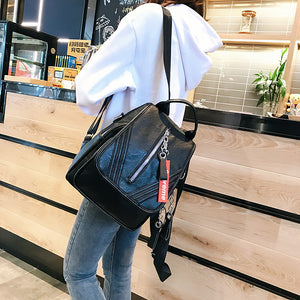 PU Leather Zipper School Bag Solid Color Daily Black / Fall & Winter