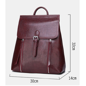 Large Capacity PU Zipper Commuter Backpack Solid Color Daily Black / Gray / Wine / Fall & Winter