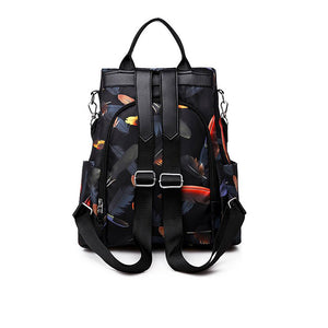 Oxford Cloth Zipper Commuter Backpack Color Block Daily Black