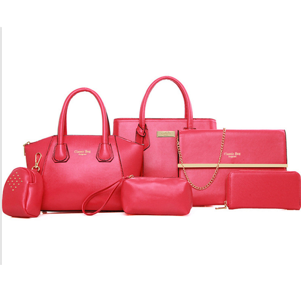 Women's Rivet PU Bag Set Bag Sets Solid Colored 6 Pieces Purse Set Black / Fuchsia / Yellow