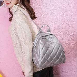 PU Zipper Commuter Backpack Solid Color School Black / Silver / Fall & Winter