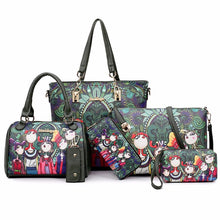 Load image into Gallery viewer, Women's Pattern / Print PU Bag Set Bag Sets Floral Print 6 Pieces Purse Set Dark Green