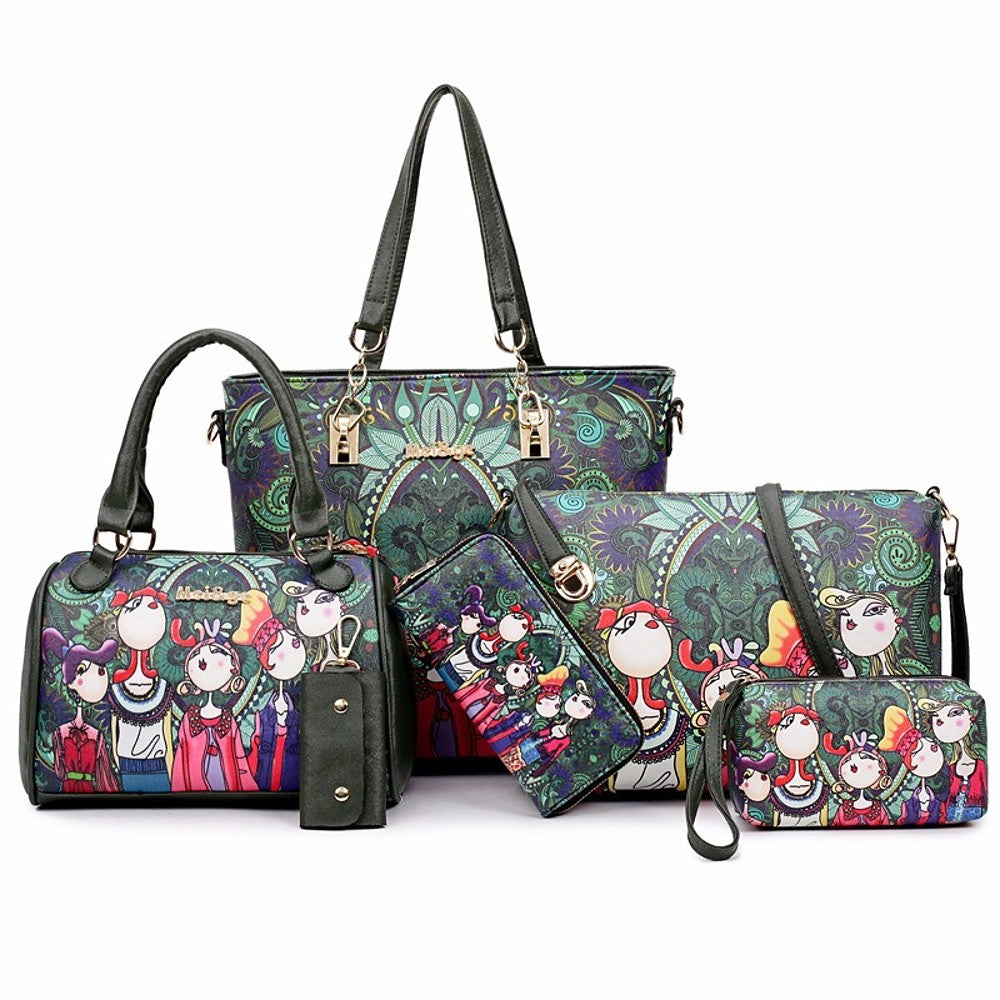 Women's Pattern / Print PU Bag Set Bag Sets Floral Print 6 Pieces Purse Set Dark Green