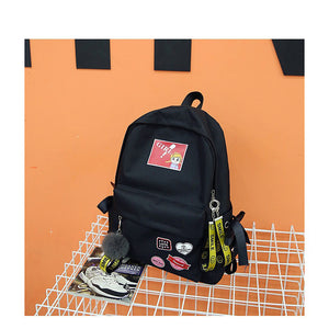 Unisex Zipper School Bag Synthetic Black / Red / Blushing Pink