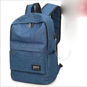 Unisex Zipper School Bag Nylon Blue / Black / Light Grey