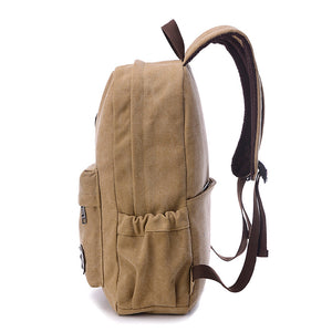 Canvas Zipper School Bag Solid Color Outdoor Beige / Coffee / Brown / Fall & Winter