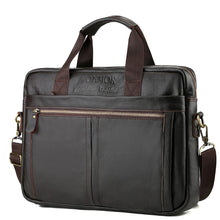 Load image into Gallery viewer, Men's Zipper Cowhide Briefcase Solid Color Black / Coffee / Fall & Winter