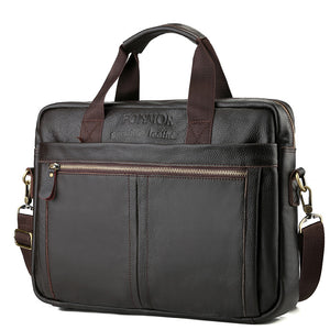 Men's Zipper Cowhide Briefcase Solid Color Black / Coffee / Fall & Winter