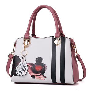 Women's Zipper PU(Polyurethane) / PU Top Handle Bag Floral Print Black / Wine / Blushing Pink / Fall & Winter