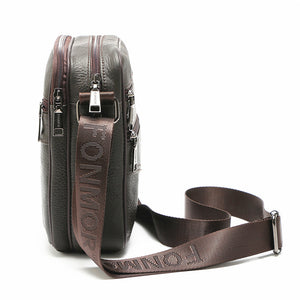 Men's Zipper Cowhide Crossbody Bag Solid Color Black / Coffee / Fall & Winter