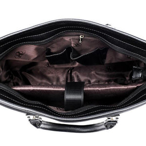 Men's Zipper Oxford Cloth Briefcase Solid Color Black