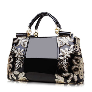 Women's Sequin / Zipper PU(Polyurethane) / PU Top Handle Bag Solid Color Black / Wine / Gold / Fall & Winter