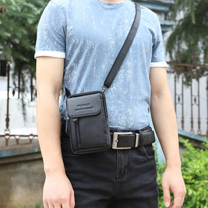 Unisex Zipper Cowhide Fanny Pack Solid Color Black / Coffee / Fall & Winter