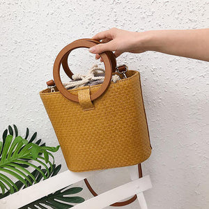 Women's Straw Top Handle Bag Solid Color Yellow / Brown / Khaki / Fall & Winter