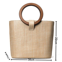 Load image into Gallery viewer, Women's Straw Top Handle Bag Solid Color Yellow / Brown / Khaki / Fall & Winter