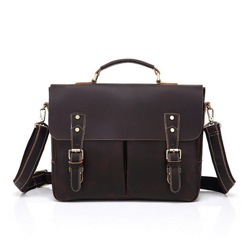 Men's Zipper Cowhide Briefcase Brown