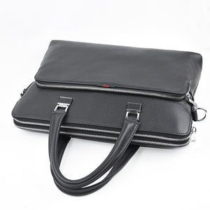 Men's Zipper Cowhide Briefcase Solid Color Black / Fall & Winter