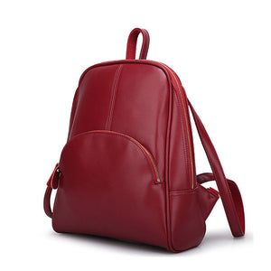 Cowhide Commuter Backpack Casual Fuchsia / Blue / Wine