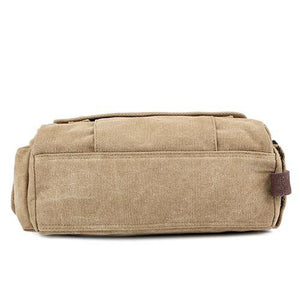 Unisex Zipper Canvas Shoulder Messenger Bag Canvas Bag Black / Coffee / Khaki
