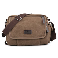 Load image into Gallery viewer, Unisex Zipper Canvas Shoulder Messenger Bag Canvas Bag Black / Coffee / Khaki