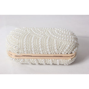 Women's Beading / Pearl / Imitation Pearl Satin Evening Bag Solid Colored White-Beige-Red