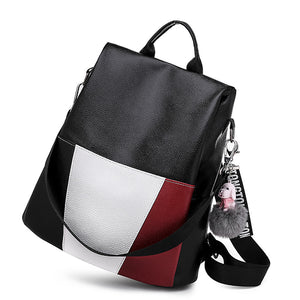 Women's Feathers / Fur Commuter Backpack Backpack Waterproof PU(Polyurethane) Color Block Black