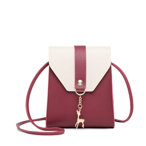 Women's Buttons Shoulder Messenger Bag PU(Polyurethane) Color Block Blushing Pink / Gray / Wine