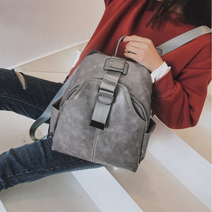 Women's Zipper Commuter Backpack Backpack PU(Polyurethane) Solid Color Brown / Black / Gray / Fall & Winter