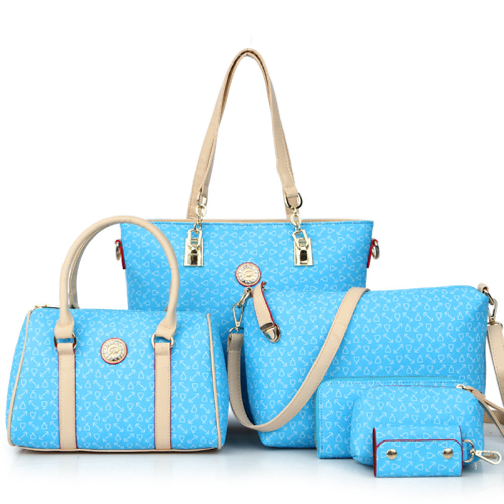 Women's Tote / Wallet / Shoulder Messenger Bag Bag Sets PU(Polyurethane) Artwork 6 Pieces Purse Set Blue / Pink / Light Blue