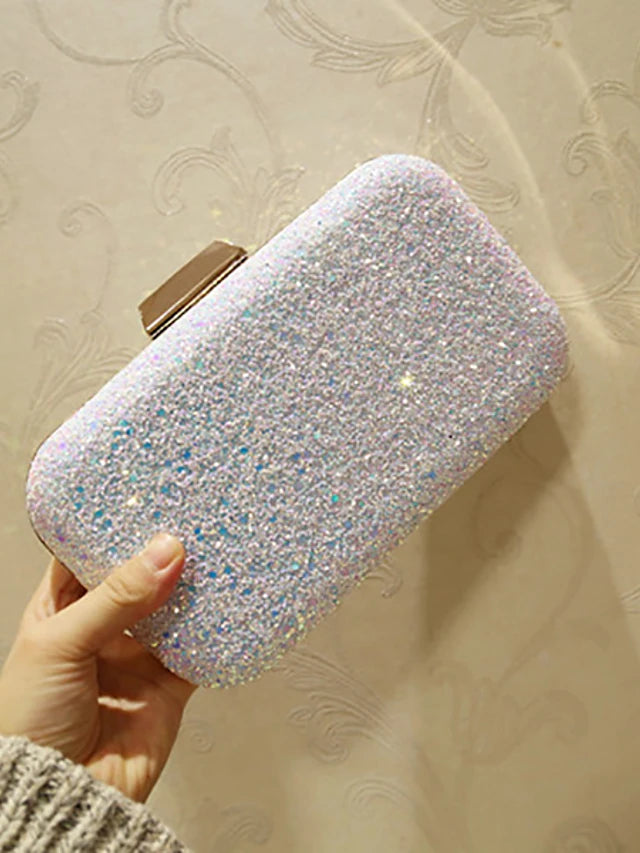 Women's Sequin Evening Bag Evening Bag Faux Leather White / Blushing Pink / Wedding Bags / Wedding Bags