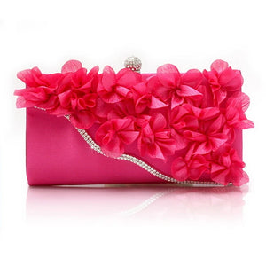 Women's Flower Evening Bag Chiffon Black / Fuchsia / Pink