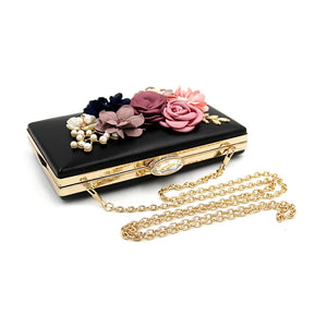 L.WEST® Women's Imitation Pearl / Crystal / Rhinestone / Flower Evening Bag Rhinestone Crystal Evening Bags Polyester Floral Print Light Gold / Wine / Blue