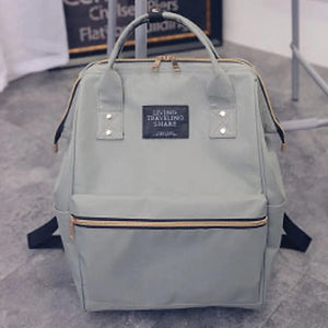 Women's School Bag Backpack Canvas Gray / Green / Blue