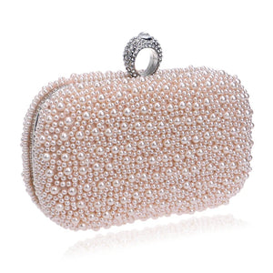 Women's Pearls Evening Bag Silk Solid Colored White / Pink