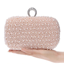 Load image into Gallery viewer, Women's Pearls Evening Bag Silk Solid Colored White / Pink