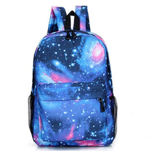 Load image into Gallery viewer, Unisex Pattern / Print School Bag Backpack Canvas Stars Blushing Pink / Dark Blue