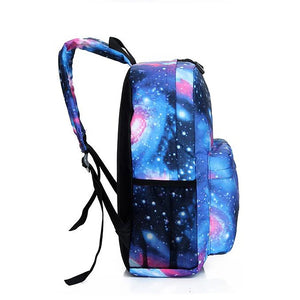 Unisex Pattern / Print School Bag Backpack Canvas Stars Blushing Pink / Dark Blue