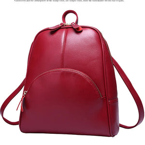 Women's Rivet School Bag Backpack Cowhide Solid Colored Brown / Red / Blue